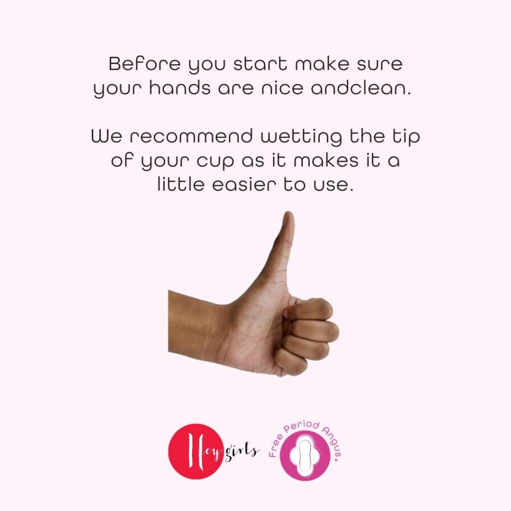How to use a menstrual cup guide - step one