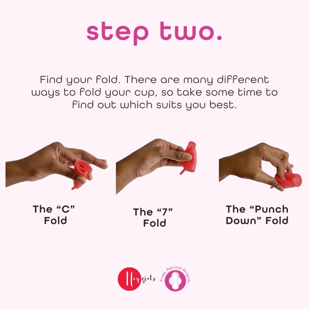 How to use a menstrual cup guide - step three