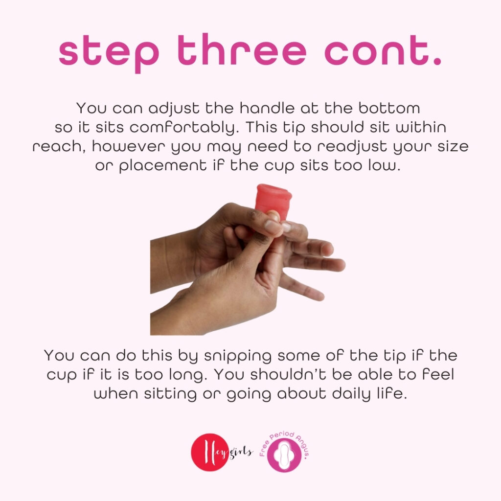 How to use a menstrual cup guide - step three continues