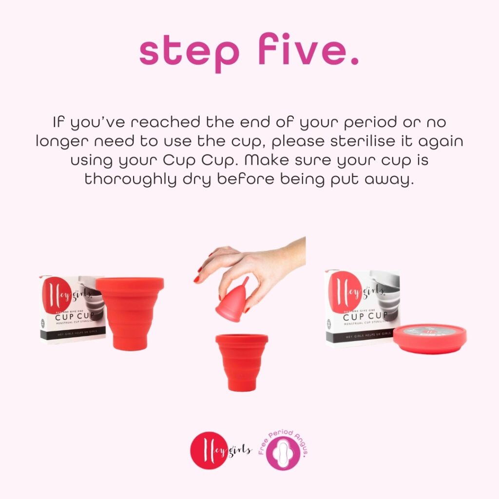 How to use a menstrual cup guide - step five